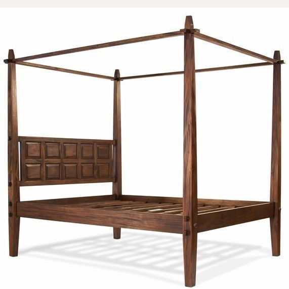 Rustic canopy bed made of solid teak wood, plain footboard and apron, tapered foots. Headboard decorated with framed panels, wood slats mattress support. Floating tenon and mortise joinery.  Category: Beds  Size : W.220, D.225, H.220 cm $424