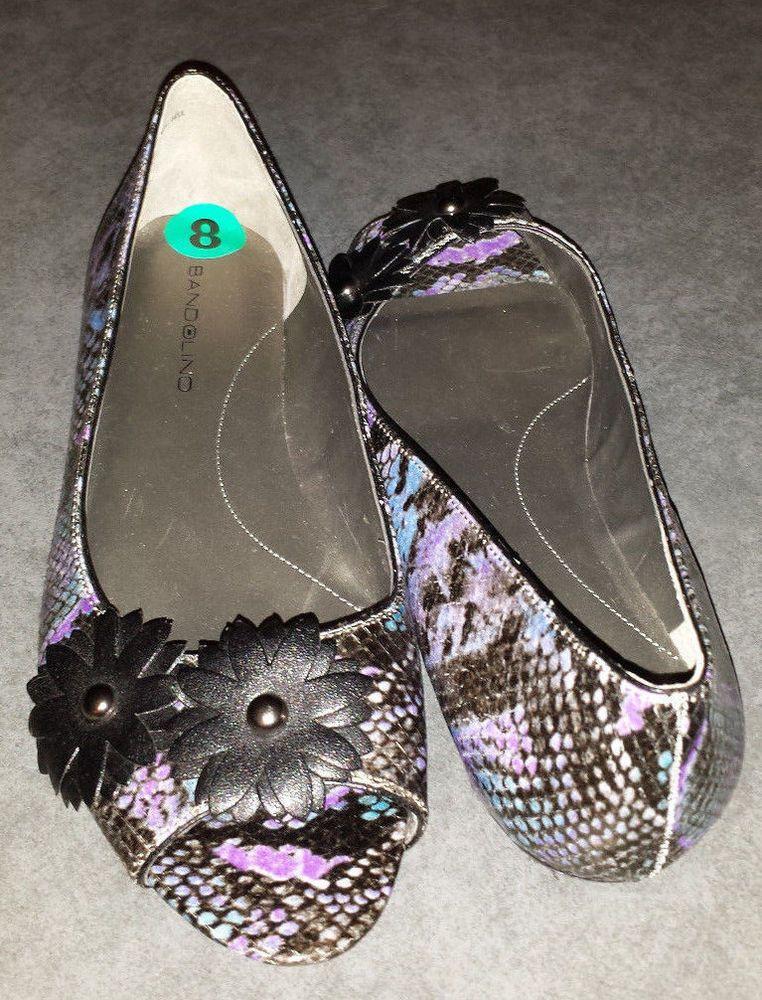 Bandolino purple & aqua open toe ballet style flats size 8 #Bandolino #OpenToe