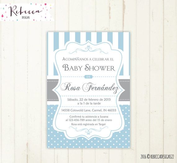 Baby Shower Invitation In Spanish Boy Invite Invitacion Imprimible En Es Invitations And Party Printables By Rebecca Designs Co
