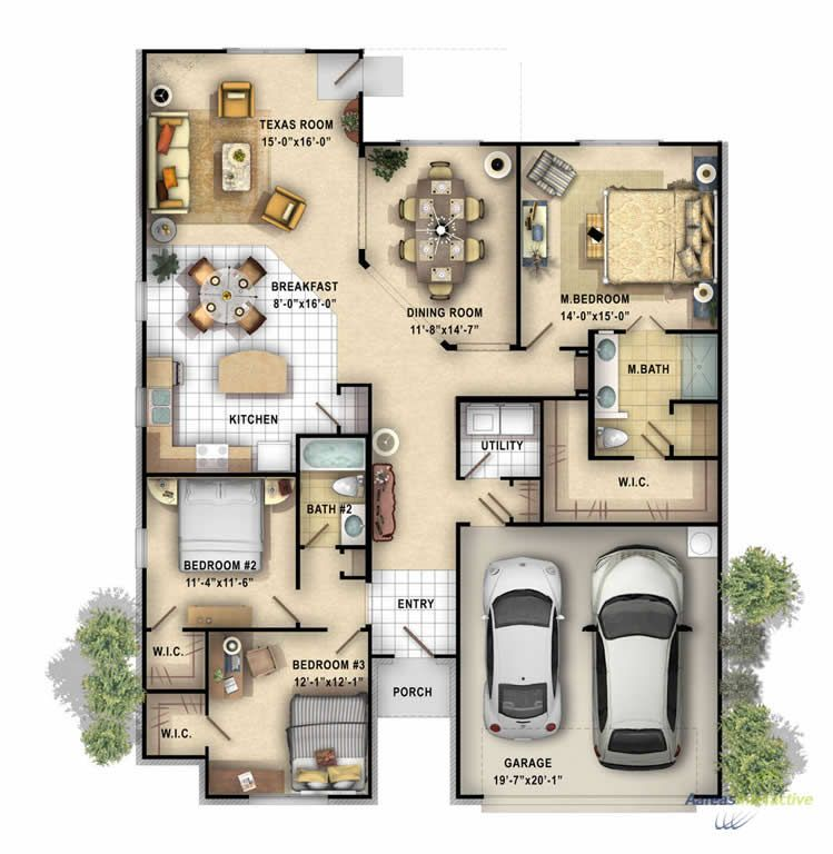 2d color floor plan of a single family 1 story home for Single story multi family house plans