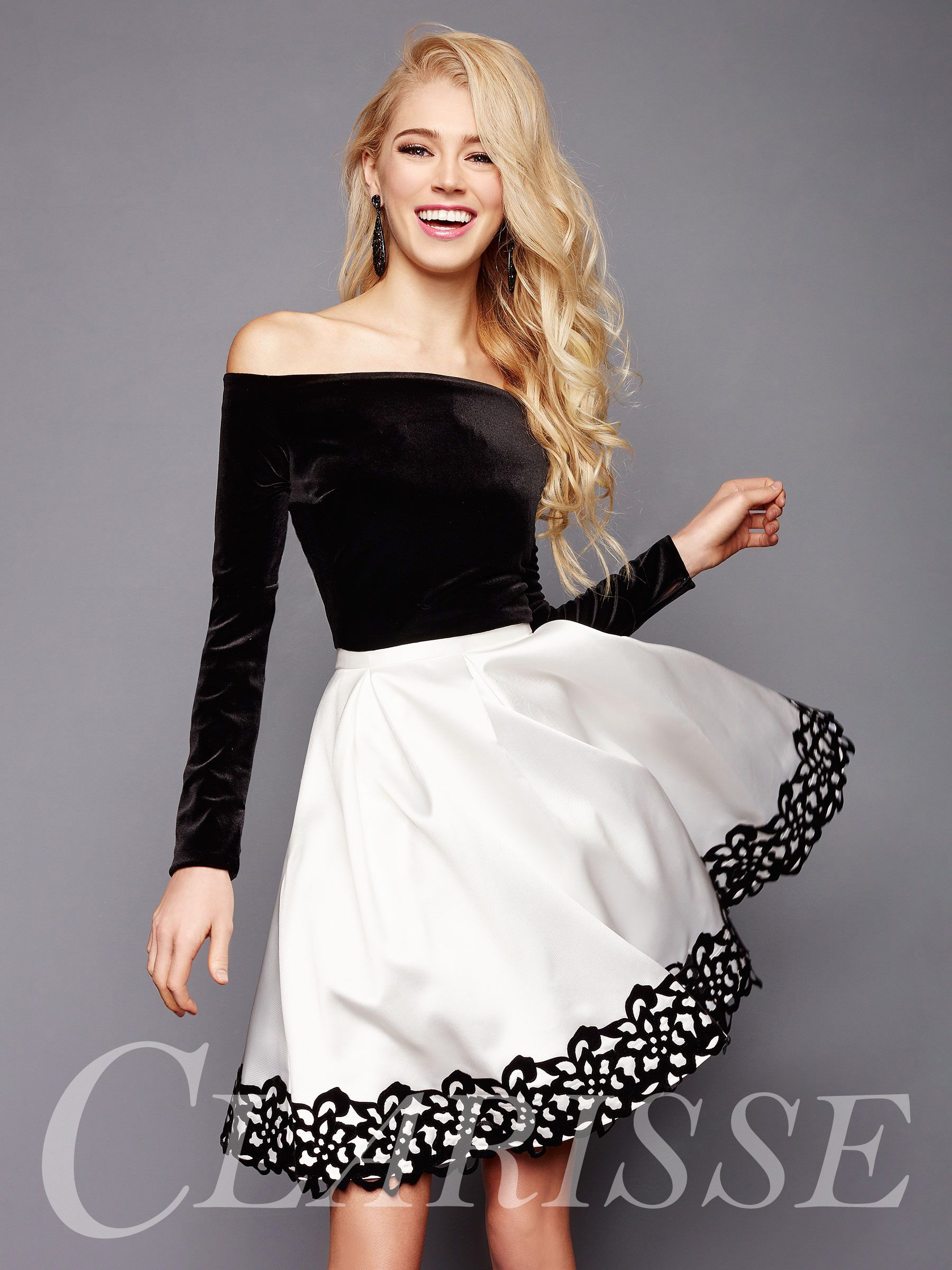 Trendy off the shoulder homecoming dress with long sleeve velvet top