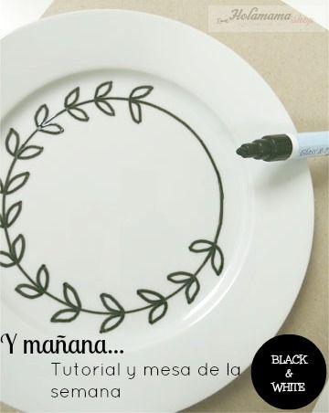 plato pintado con rotulador para porcelana