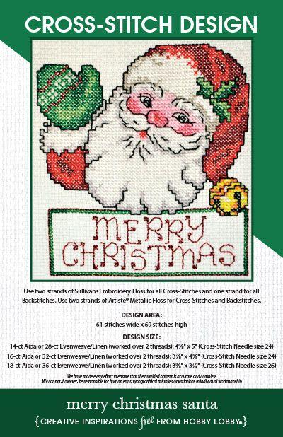 Hobby Lobby Project Merry Christmas Santa Cross Stitch