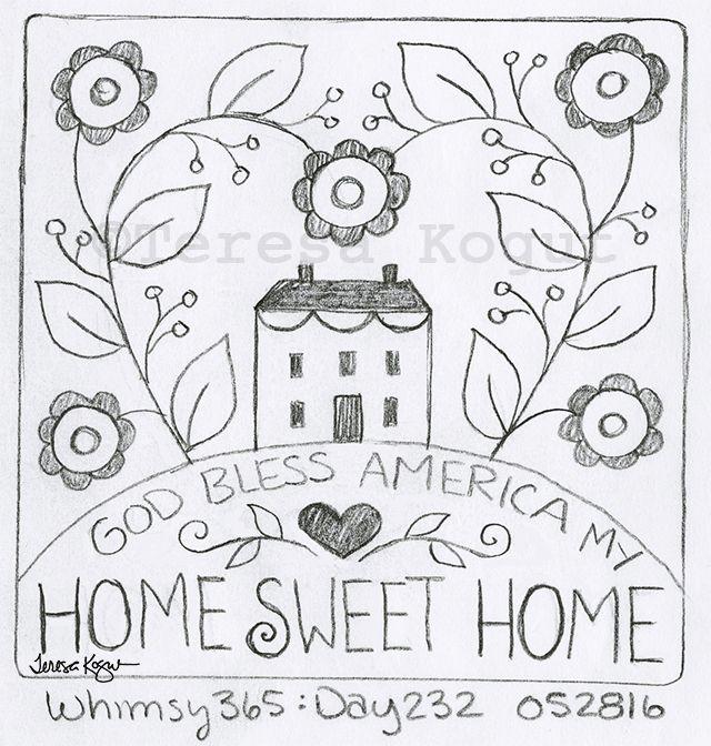 God Bless America My Home Sweet Home Stitchery | Rug hooking ...