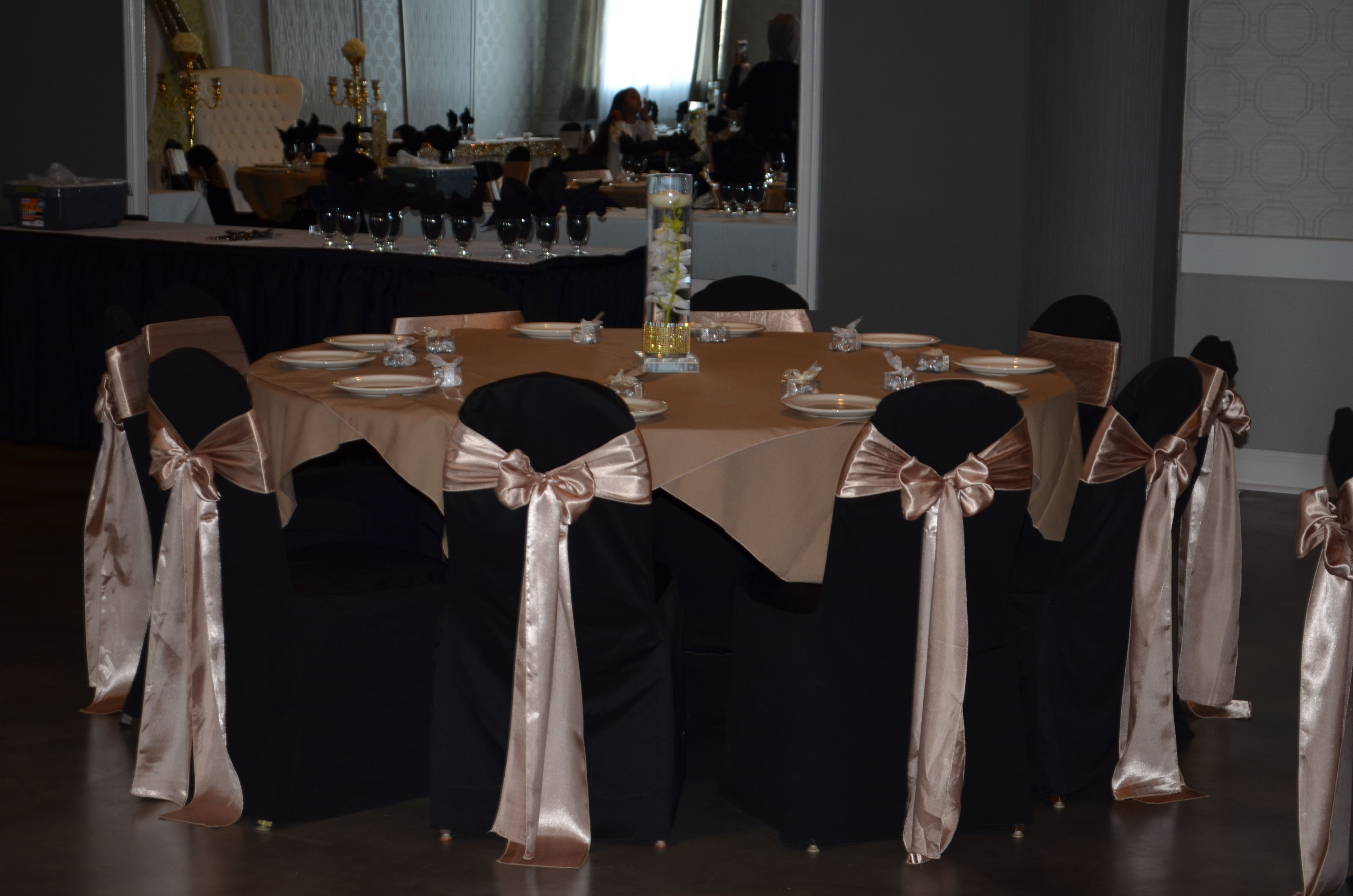 Black and Champagne Wedding Theme Chair Cover Rentals Buffalo