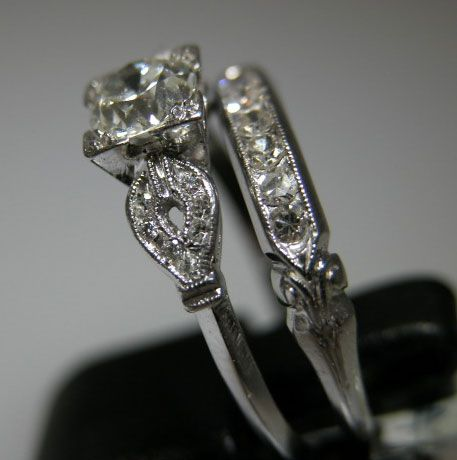 vintage wedding rings 1920 antique diamond engagement wedding ring white yellow gold platinum 18k - Vintage Wedding Rings 1920