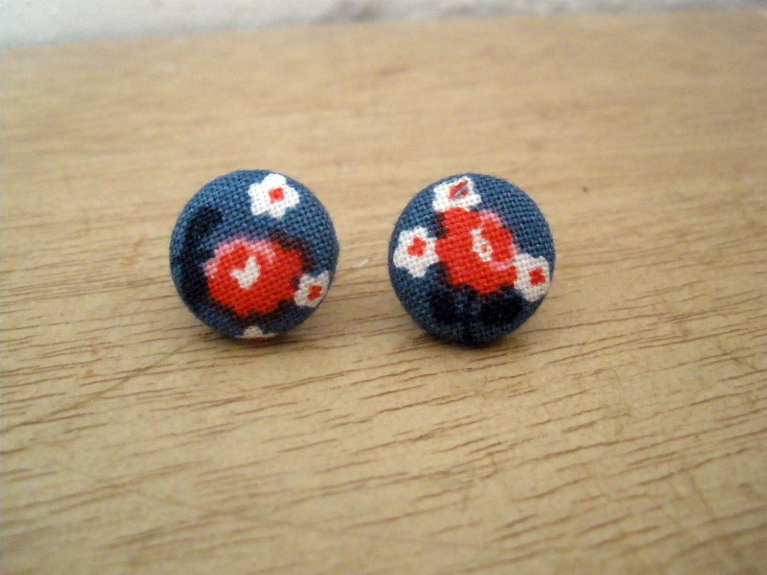 Chinese Blossom Fabric Covered Earrings. $3.00, via Etsy.