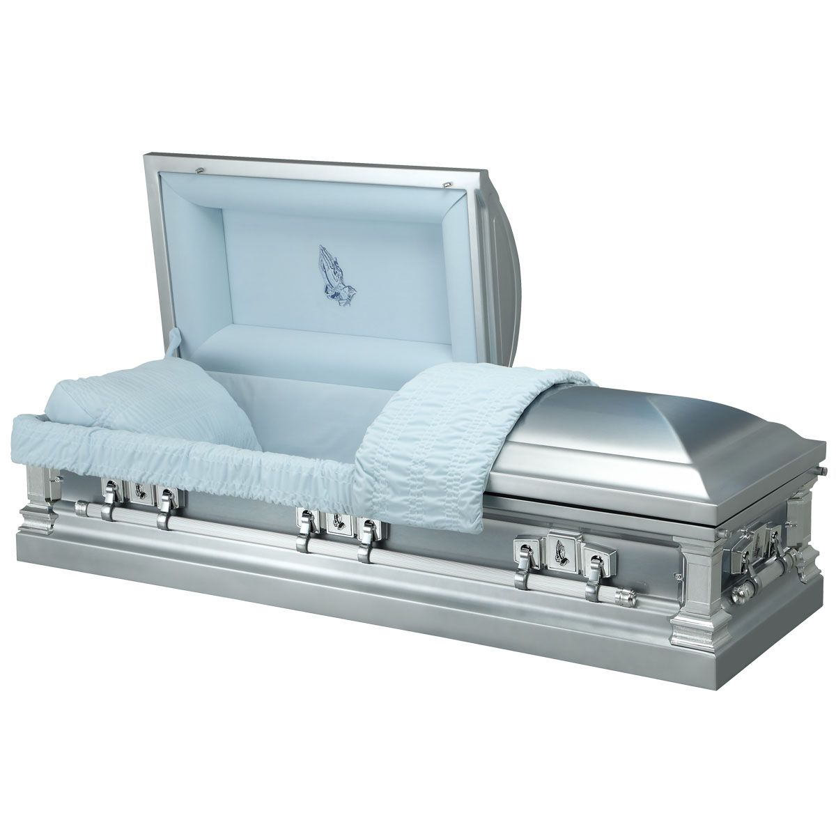 Blue Rise Steel American Casket Coffin Compare The Coffin Casket Coffin Velvet Interiors