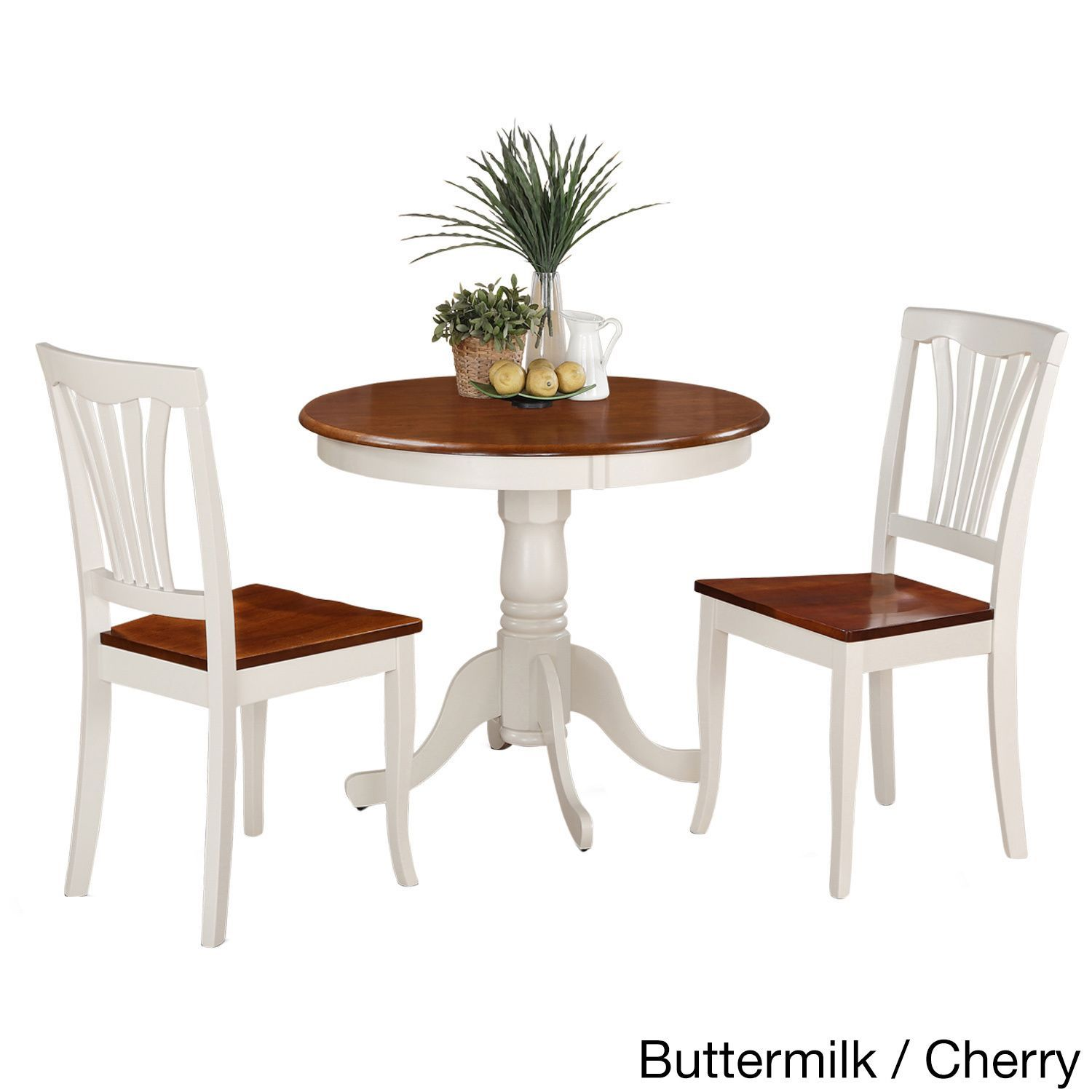 Black And Cherry Round Table And Two Dinette Chair 3 Piece: 3-Piece Kitchen Nook Dining Set-Small Kitchen Table And 2