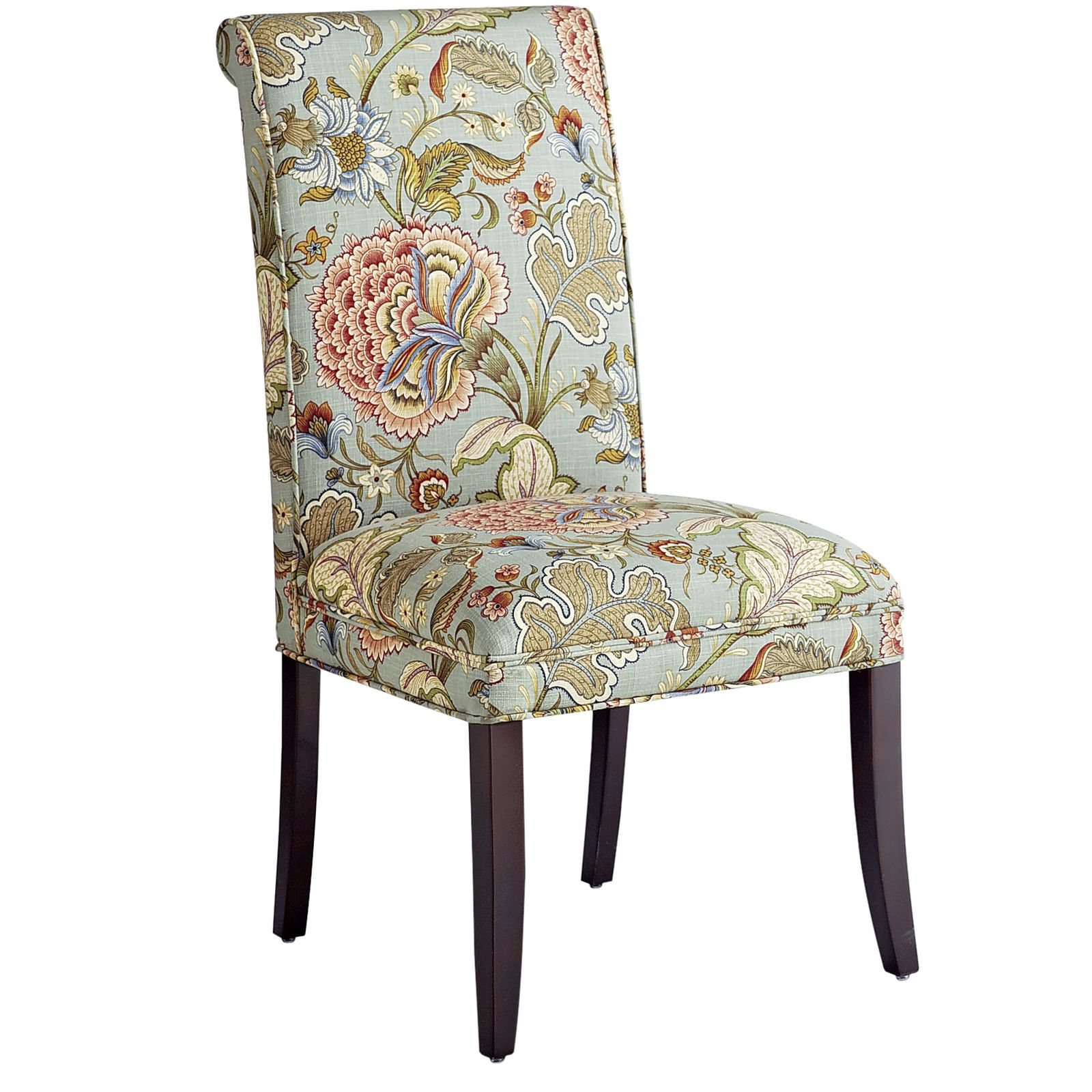 Best Angela Blue Floral Dining Chair With Espresso Wood 400 x 300