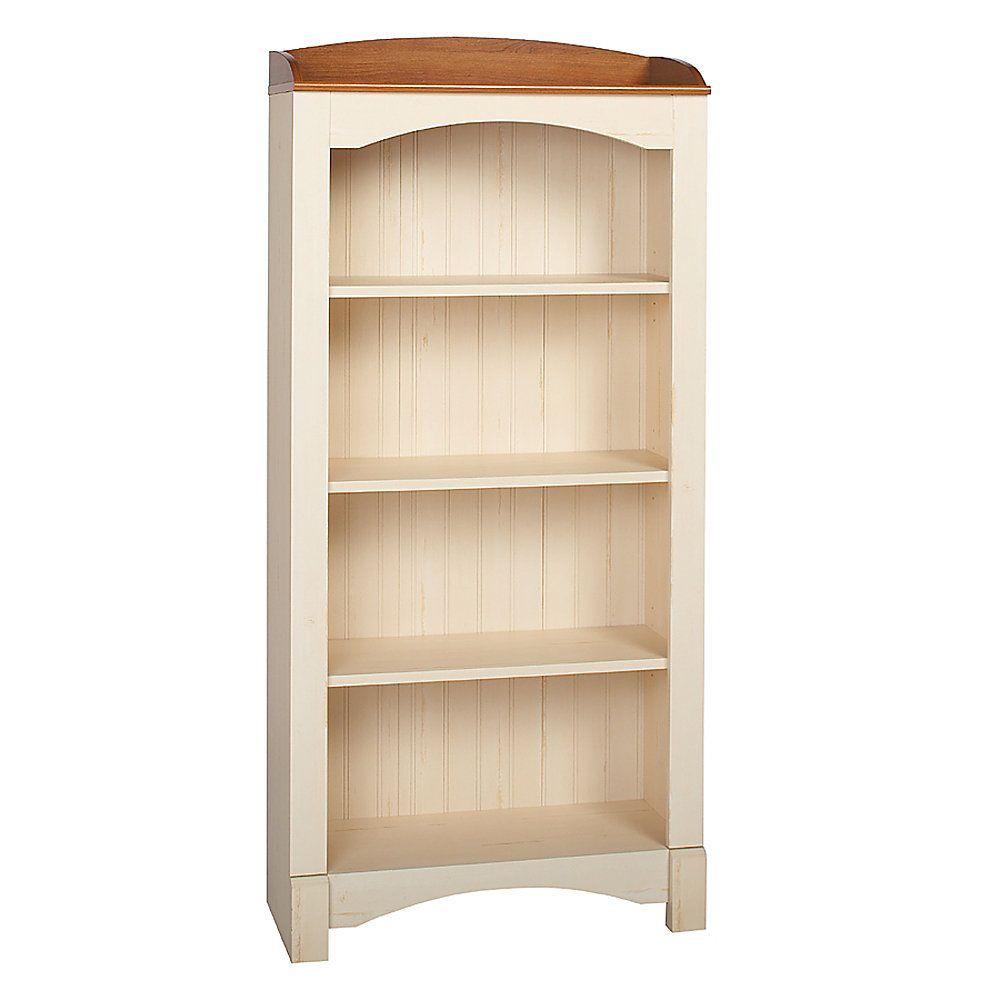 Christopher Lowell Shore Mini Solutions 4 Shelf Bookcase 63 1 8H X 29 2W 12 3 4D Antique White