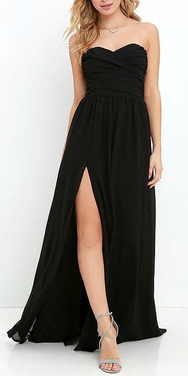 Fancy Black Strapless Dress