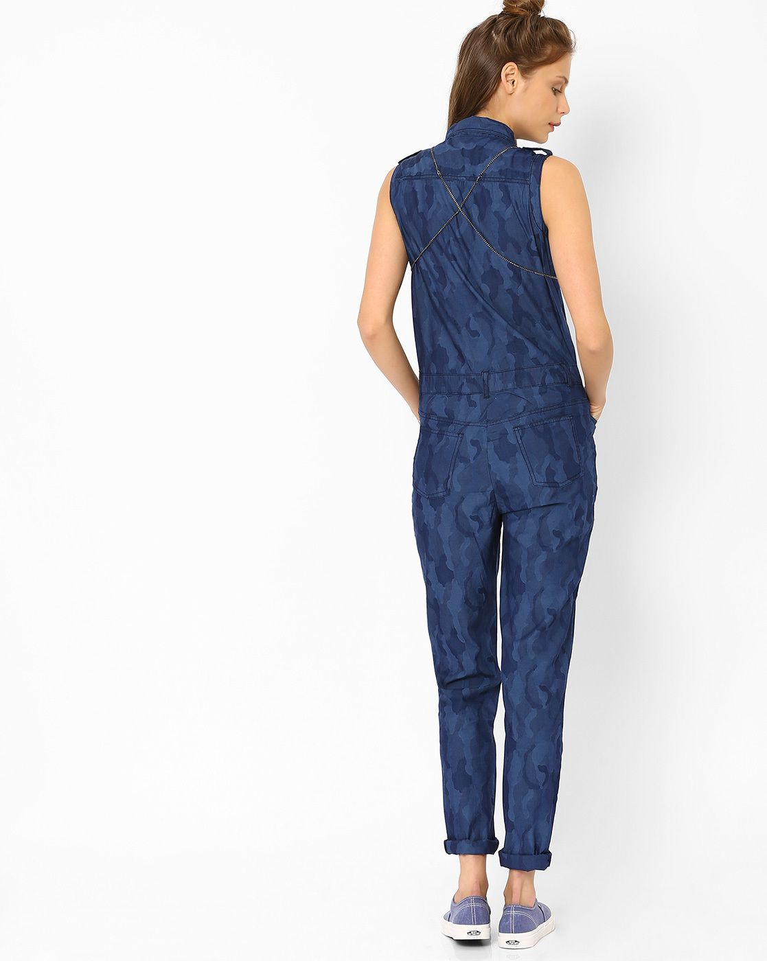 200ccd962079 Denim Jumpsuit with Camouflage Print