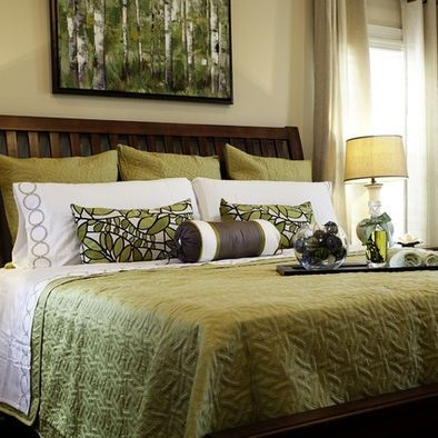 "green/tan/black; love the ""floral"" pillows and artwork -- these would pull in the view from the window; also love the green white tan bedding combo on dark colored bed."