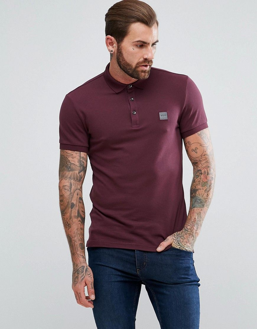 3cca9166 Get this Boss Orange's polo shirt now! Click for more details. Worldwide  shipping. BOSS Orange by Hugo Boss Pavlik Slim Fit Polo Shirt in Burgundy -  Red: ...