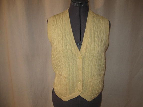 Vintage 70s Braemar Cream Off White 100 Wool Cable Knit Sweater Vest Medium Sweater Vest Cable Knit Sweaters Sweaters