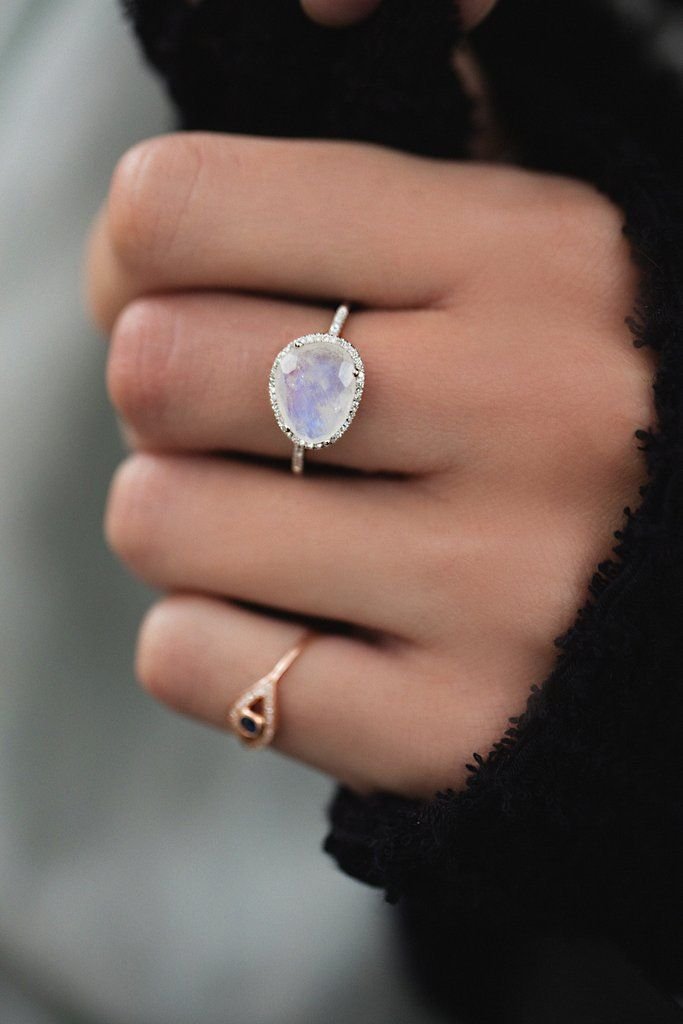 14kt gold and diamond single band moonstone ring – Luna Skye by