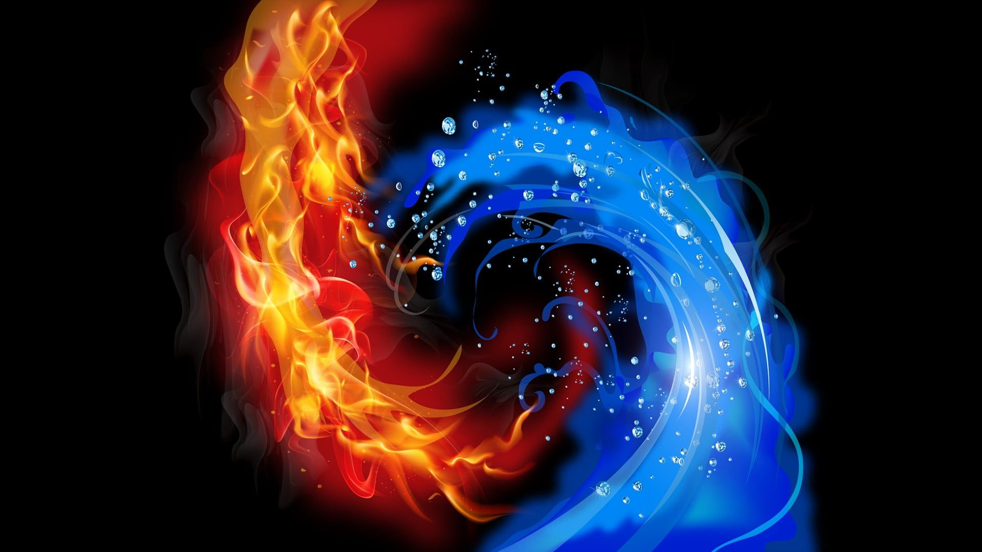 Fire And Ice Wallpaper Abstract Black Background Fire Water Vector 1080p Wallpaper Hdwallpaper De In 2021 Fire And Ice Wallpaper Fire And Ice Black Backgrounds 1080p fire and water wallpaper hd