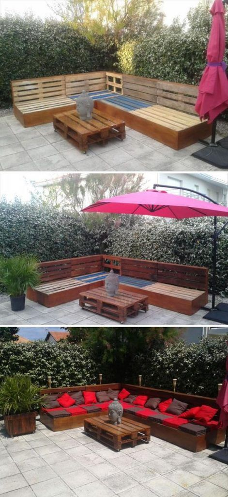 25 Easy And Cheap Backyard Seating Ideas - Page 20 of 25 Palets - muebles de jardin con tarimas