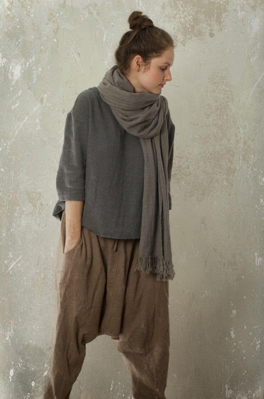 100% top quality website for discount meet harem pants SHANTI in linen & wool blend | linen trousers ...