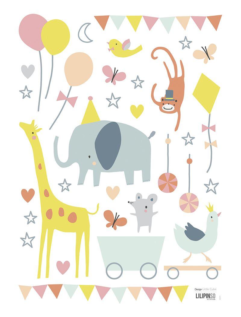 Marvelous Lilipinso Kinderzimmer Wandtattoo uZirkus Tierparty u Set bunt auf A im Fantasyroom Shop