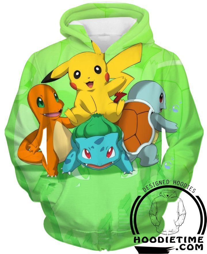 Pokemon - Pikachu, Charmander and Starting Pokemon Hoodie - Pullover ...