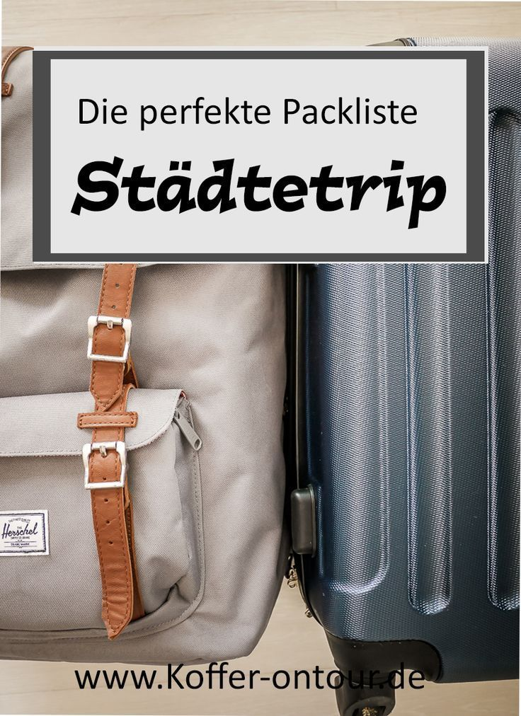 Hol dir die praktische Packliste für deinen Städtetrip. Mit dieser Checkliste für Koffer, Rucksack und Kulturbeutel vergisst du nichts mehr auf deiner Städtereise! Schau mal rein!