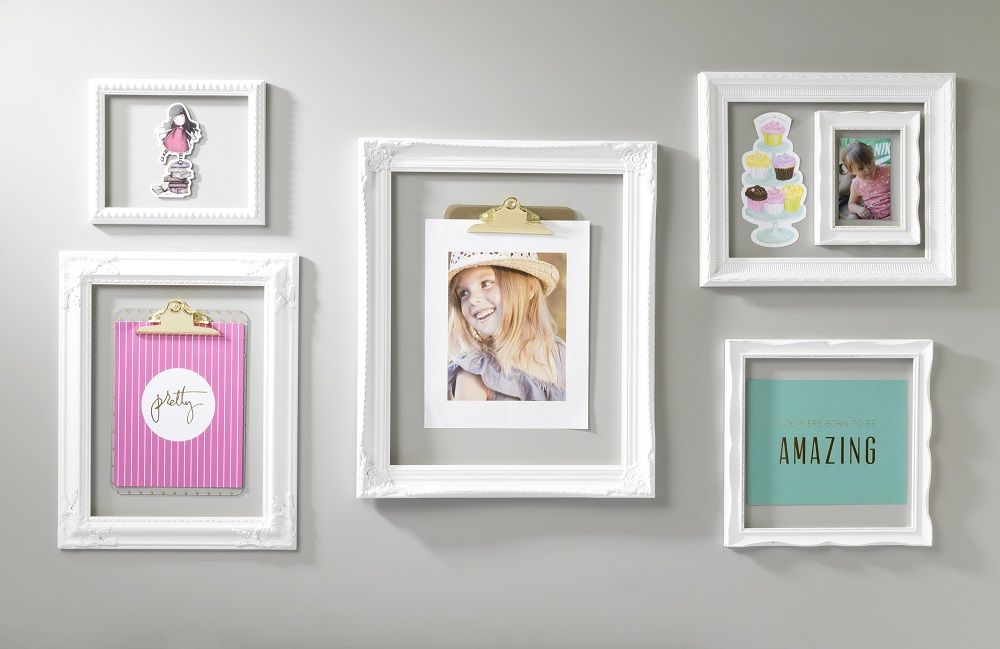 White Open Frame Trendy Wall Art   Scrapbook wall art, Open frame ...
