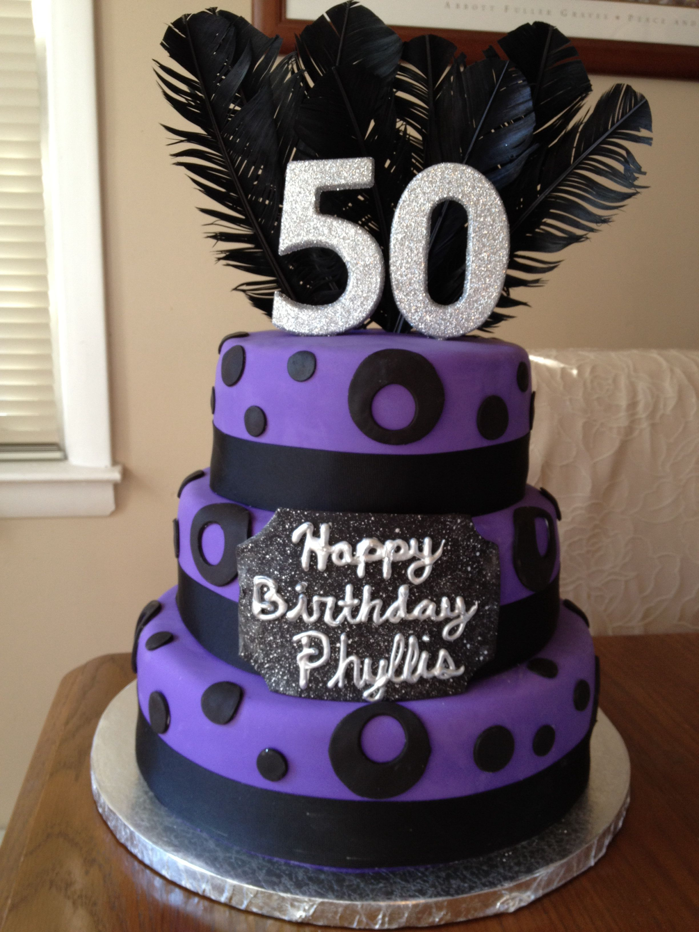 Black And Purple 50th Birthday Cake