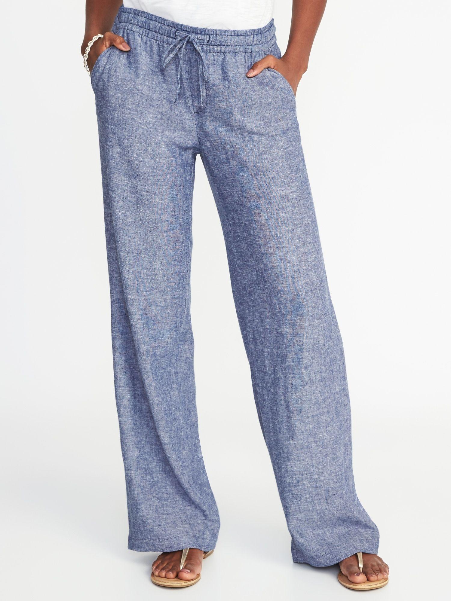 6f4475f252 Mid-Rise Linen-Blend Wide-Leg Pants for Women