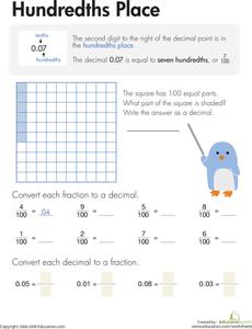 decimals hundredths place  worksheets  pinterest  math  decimals hundredths place