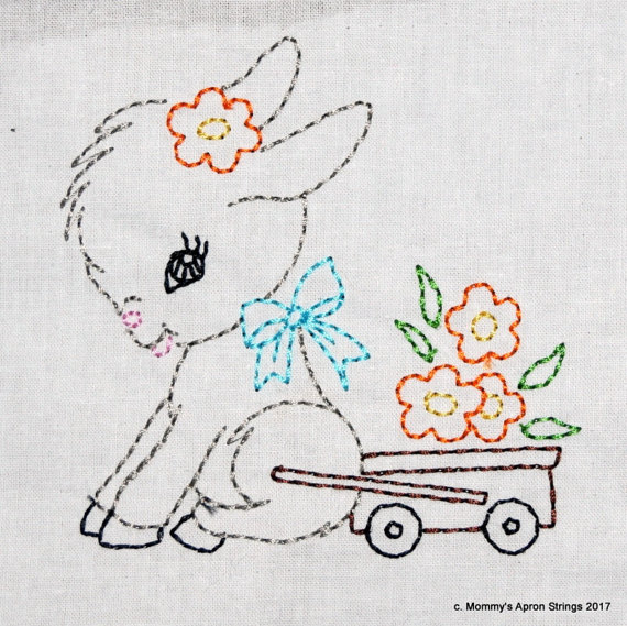 Vintage Donkey Cart with Flowers Machine Embroidery Design 2 sizes, 4×4 or 5×7 colorwork linework, INSTANT DOWNLOAD. girl, toddler, baby