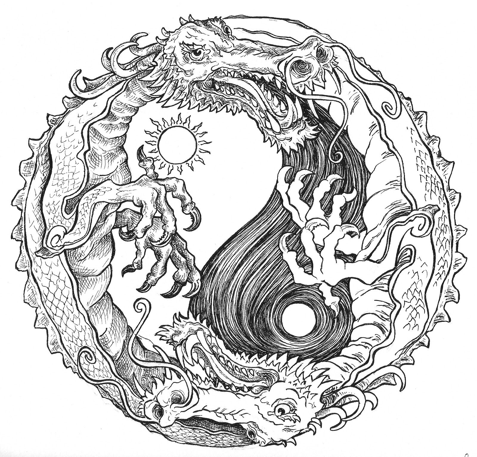 Sun And Moon Dragon Yin Yang Coloring Pages Colouring Adult Detailed