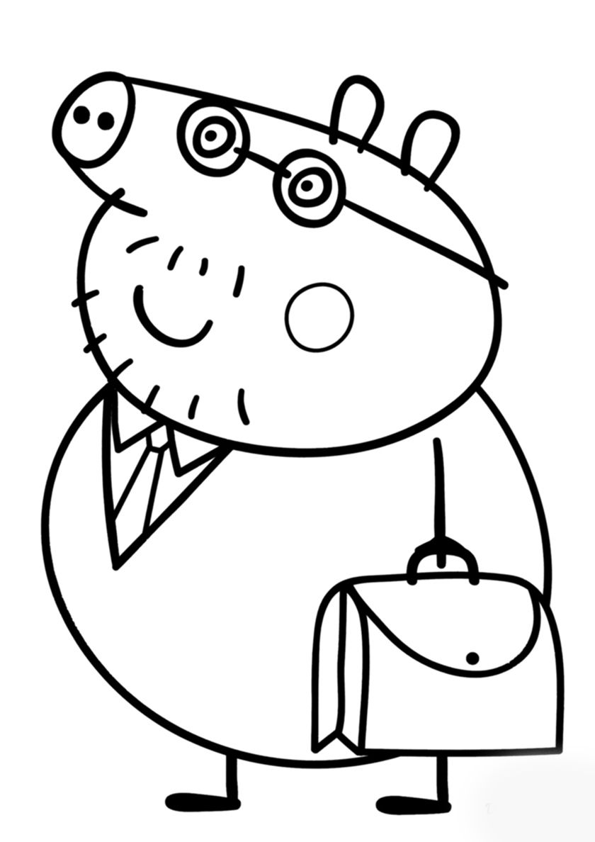 Daddy Pig with a Briefcase - high-quality free coloring from the ...