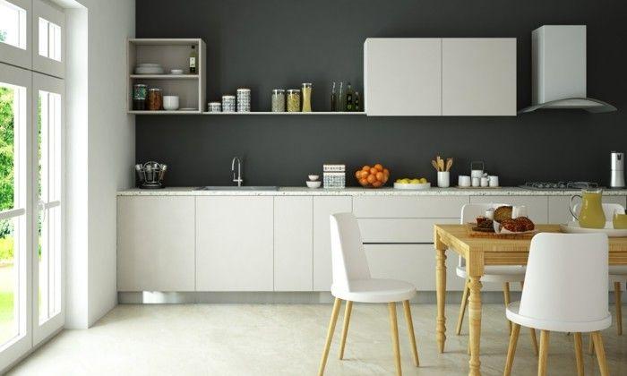 wohnideen küche weiße module und graue wand bilden einen schönen, Hause deko