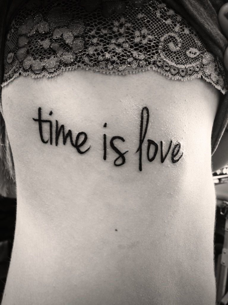 This is my tattoo done by the amazing Joe Nasatka at Orange Tattoo Company in Maryland, U.S. I absolutely love it. It means so much to me. It represents my view on life that time you spend on meaningless things or with meaningless people is completely wasted. Life is short and time really is love. Time spent not with ones you love, and time spent not doing what you love, is simply wasted.