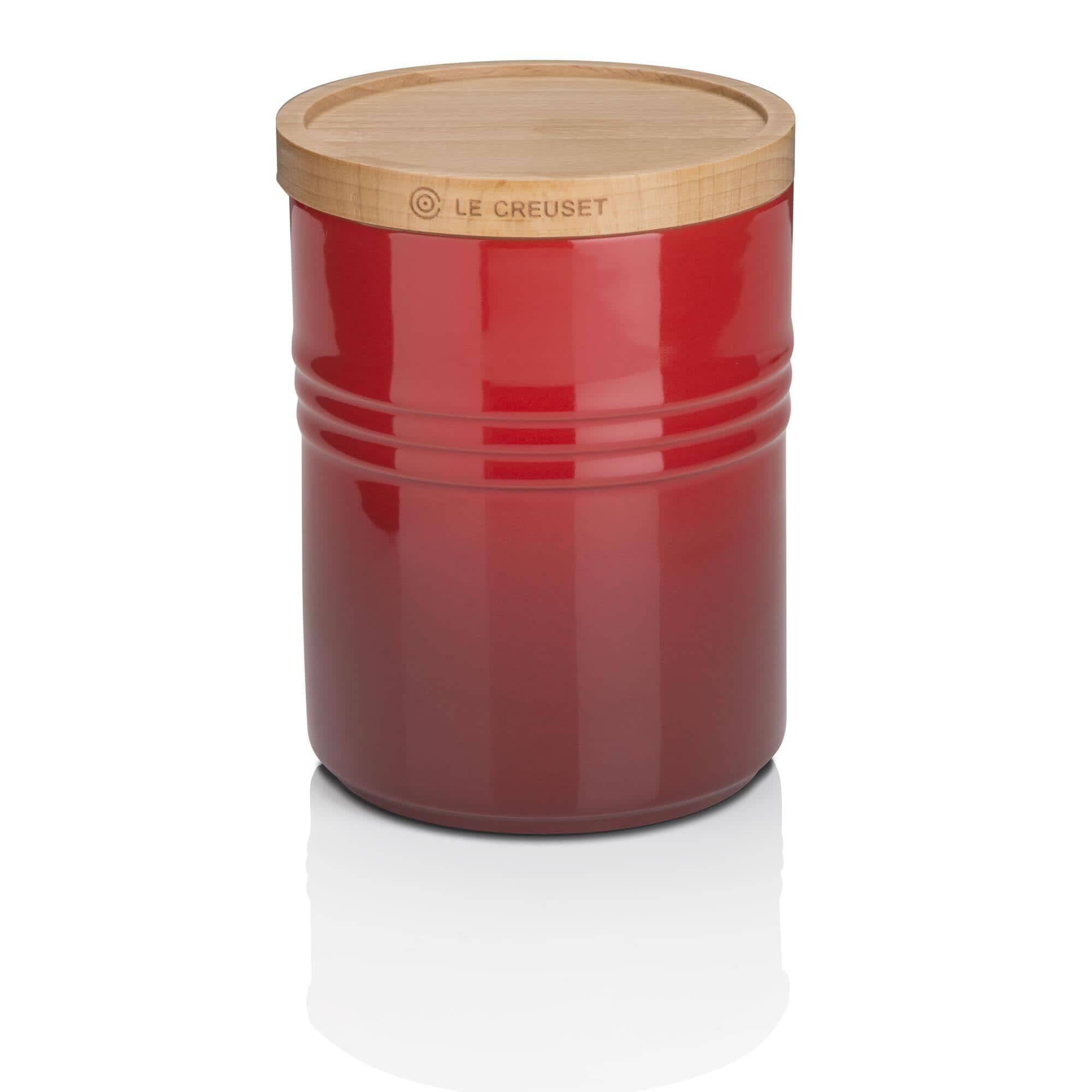 Le creuset new medium storage jar with wooden lid cerise