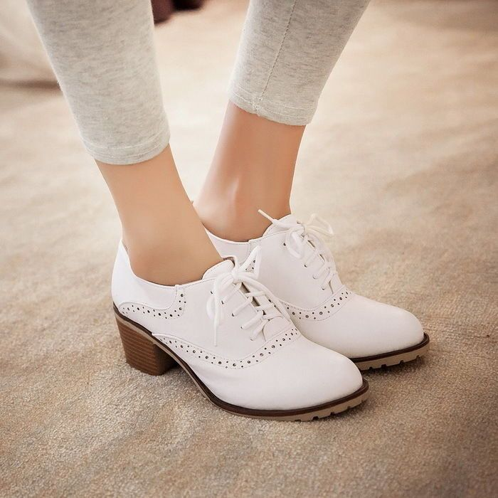 Womens Cuban Heel Brogue Vintage Retro Boots Pumps Shoes Lace Up Mary Janes  4-11