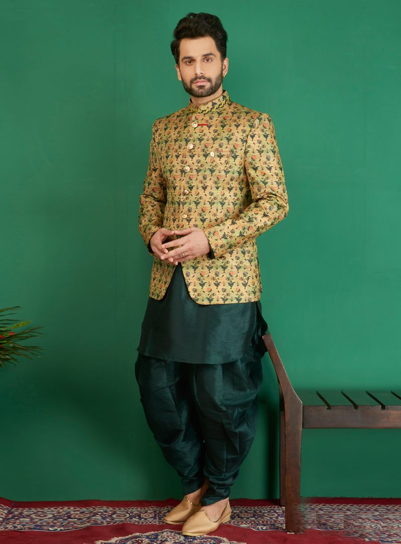 81a9aca0bf Buy Green Jacquard Readymade 3 Piece Sherwani 141076 online at lowest price  from our mens wear collection at Indianclothstore.com.