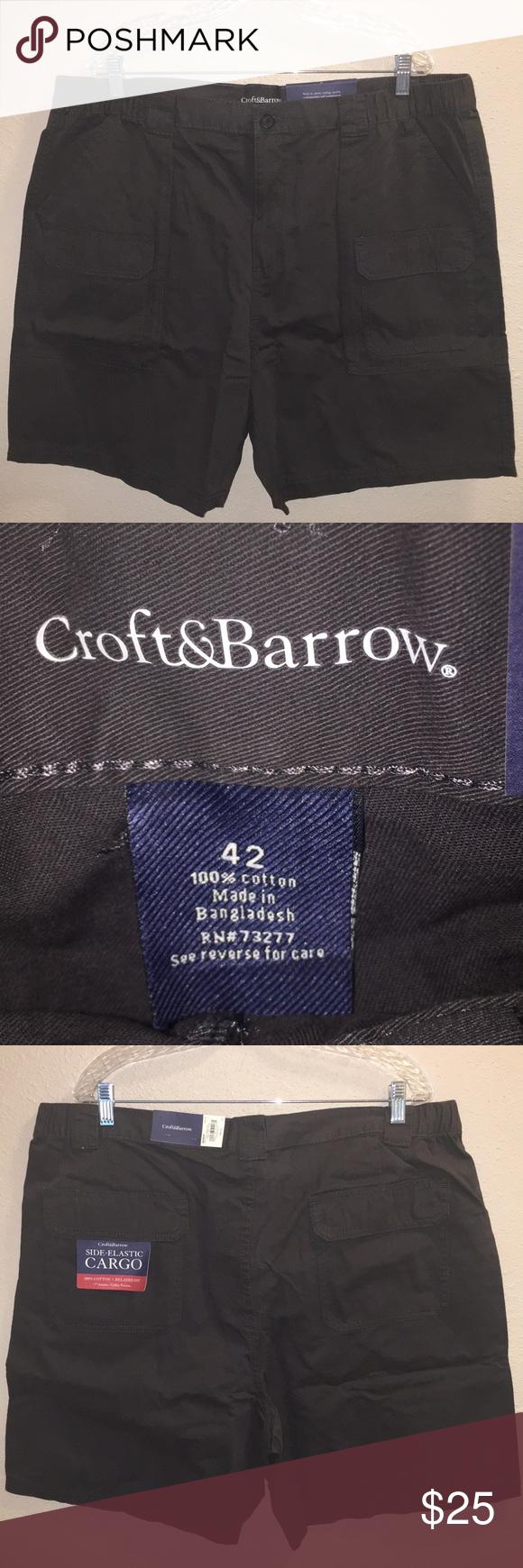 "NWT MENS CROFT/&BARROW SIDE ELASTIC CARGO RELAXED 7/"" INSEAM SHORTS GRAY  SIZE 42"