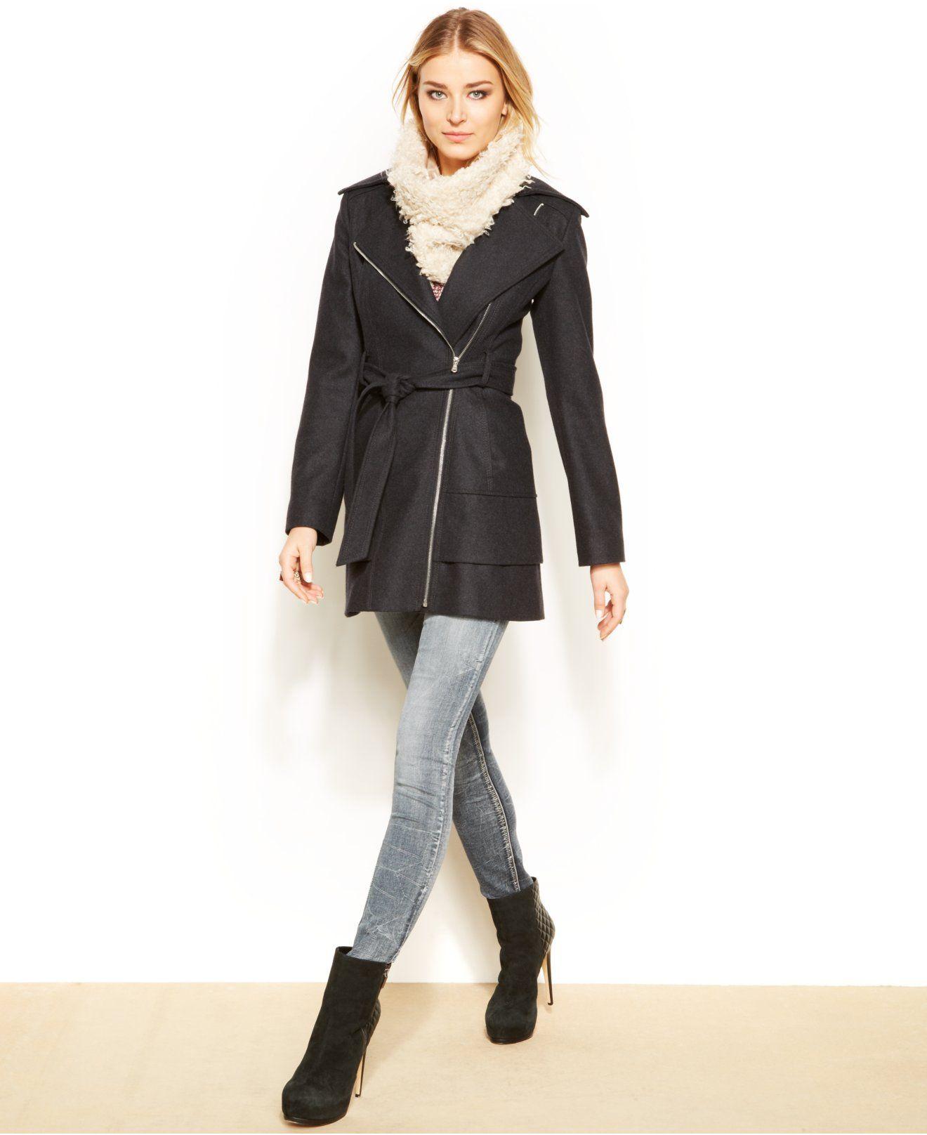 ff7e7e47a8fd0 GUESS Asymmetrical Tiered Hem Belted Wool Coat - Coats - Women - Macy s  109