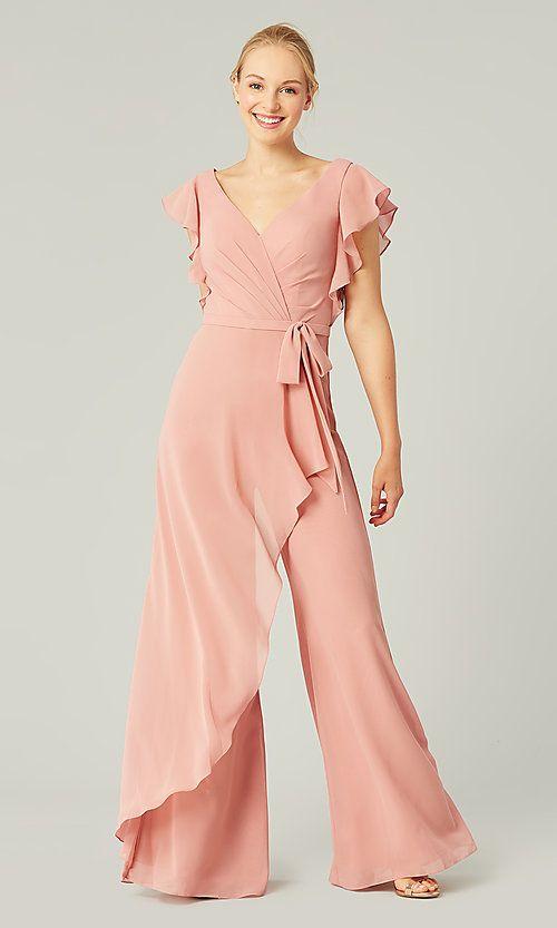 Short-Sleeve Long Bridesmaid Jumpsuit by Kleinfeld