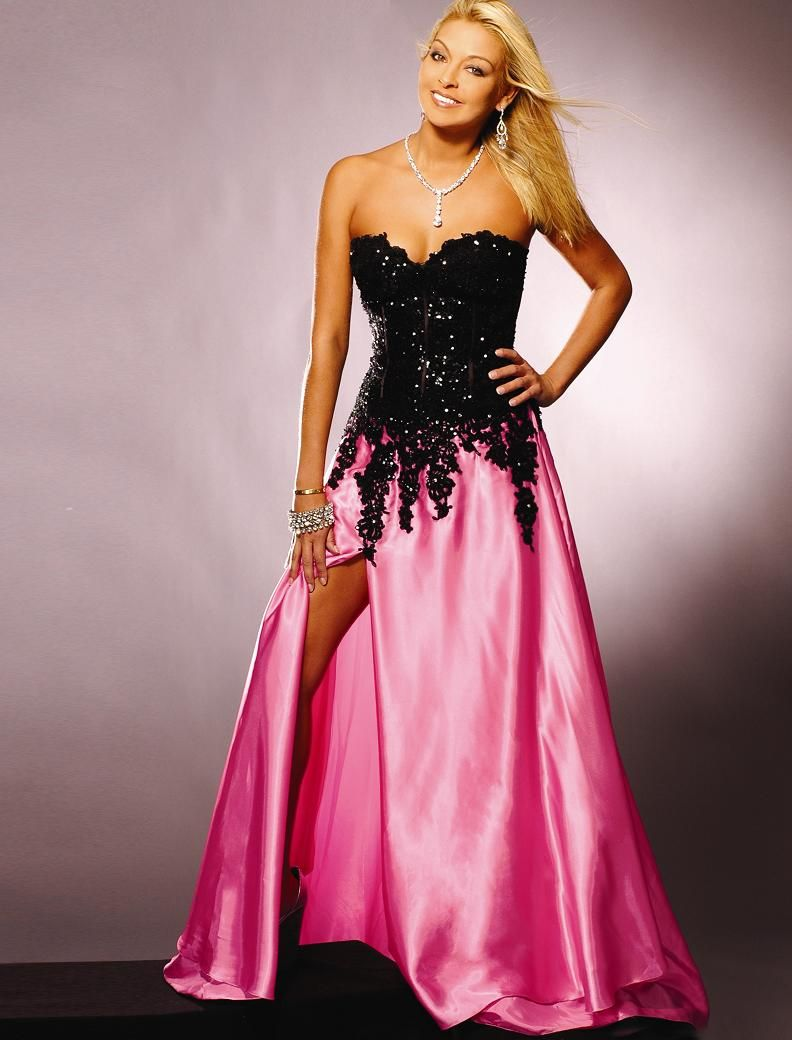 Pink and Black Gown | Cocktail Dresses | pats | Pinterest | Vestiditos