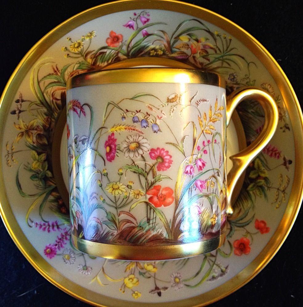 Limoges Ancienne Manufacture Royale Fleurs Des Champs DemiTasse $400 Cup Set #limogesanciennemanufactureroyale