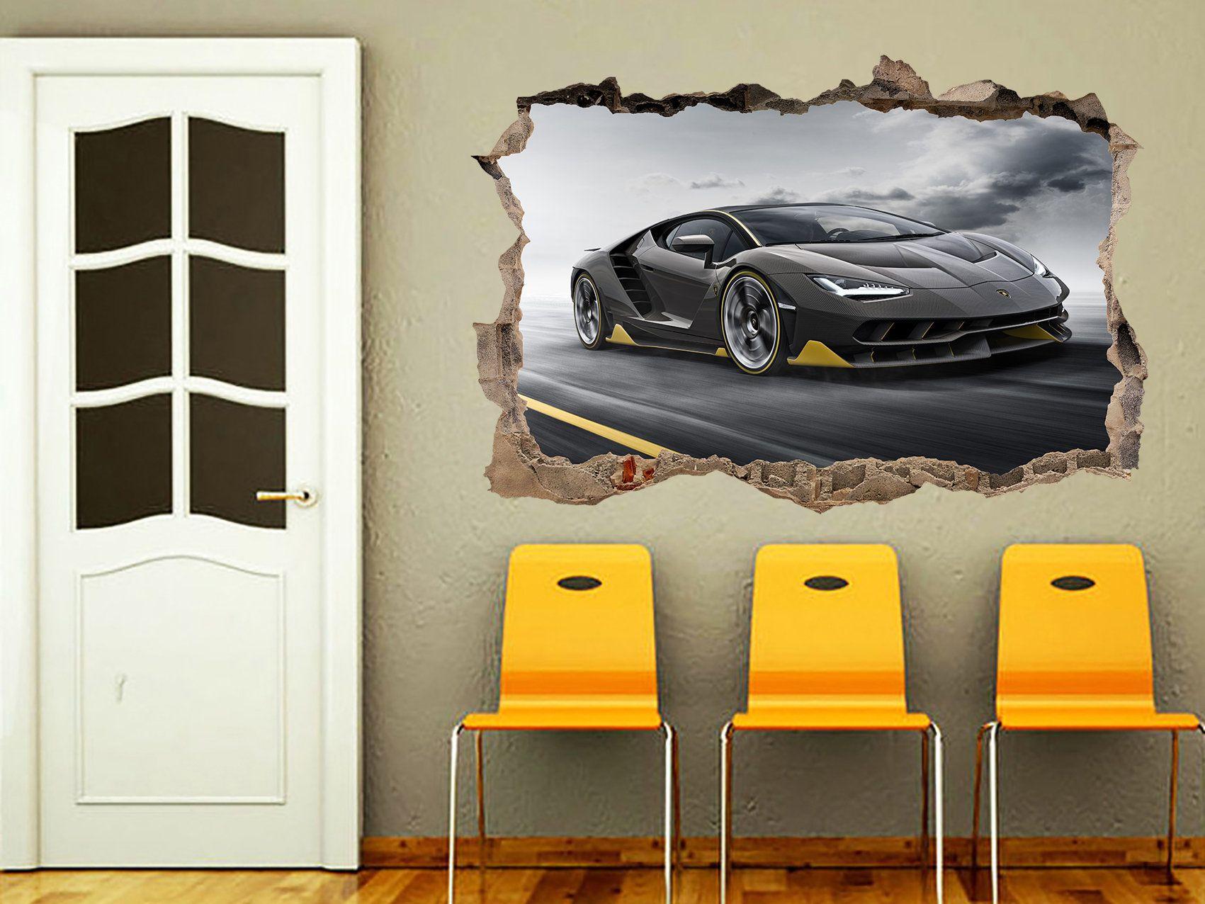 SUPER SPORT CAR LAMBORGHINI  3D WINDOW WALL STICKER ROOM DECORATION DECAL MURAL