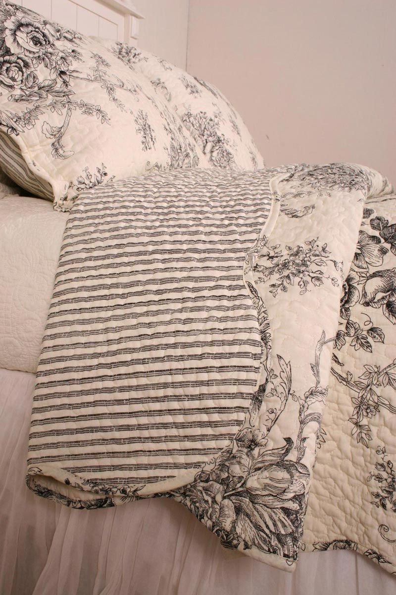Special Purchase French Country Black Toile Cotton Quilt