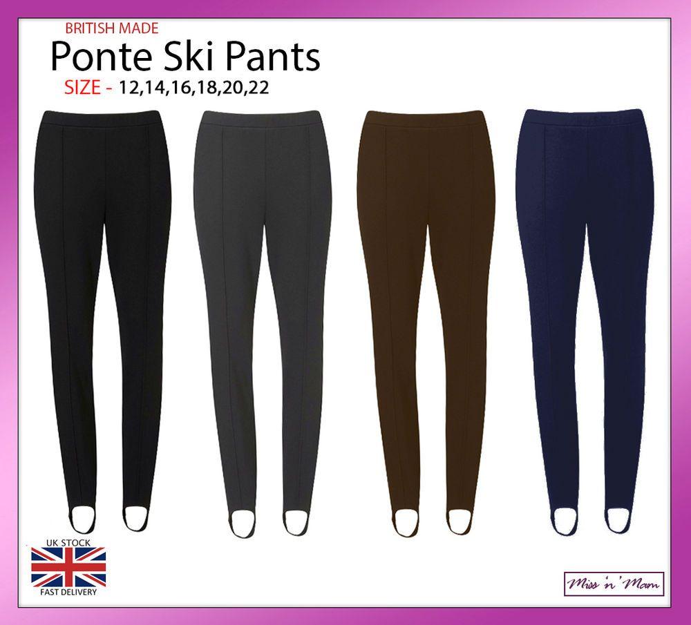 36f3ed8631ded3 Ladies Pull On Ponte Ski Pants Elasticated Stirrup Women Trouser Plus Size  12-22 #MissnMam #PullOnSkiPants