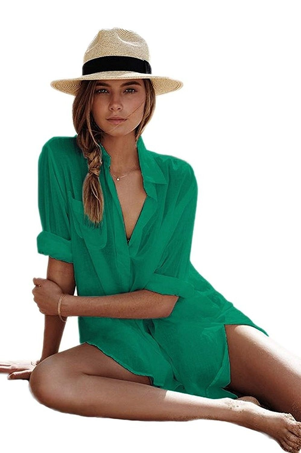 6d2366ad0f1a7 Women's Clothing, Swimsuits & Cover Ups, Cover-Ups, Women's Sexy Cotton V- Neck Summer Beachwear Solid Swimsuit Cover Up Dress - Green - CC18CNM47T8  ...