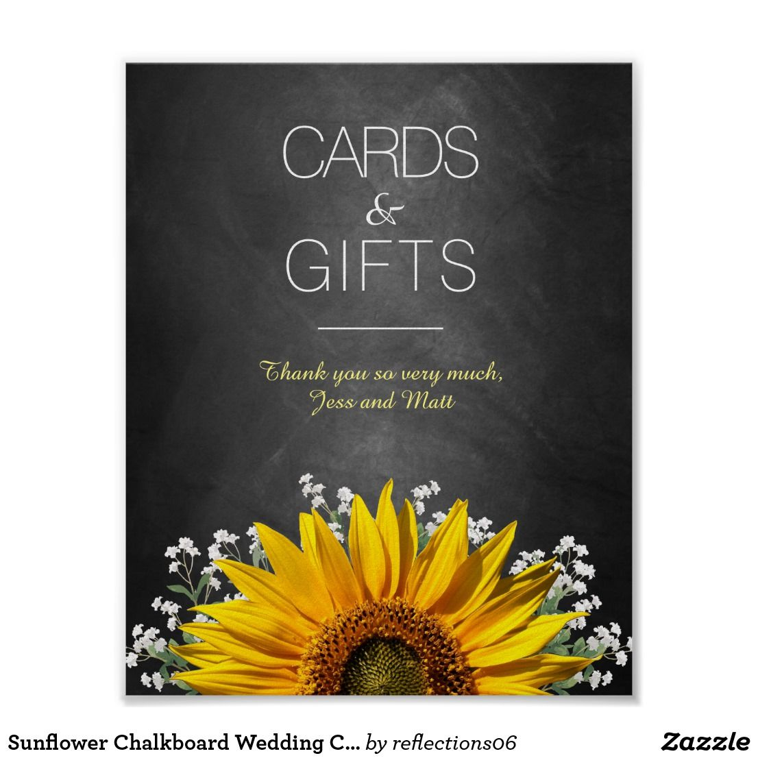 Sunflower Chalkboard Wedding Cards and Gifts Sign Zazzle