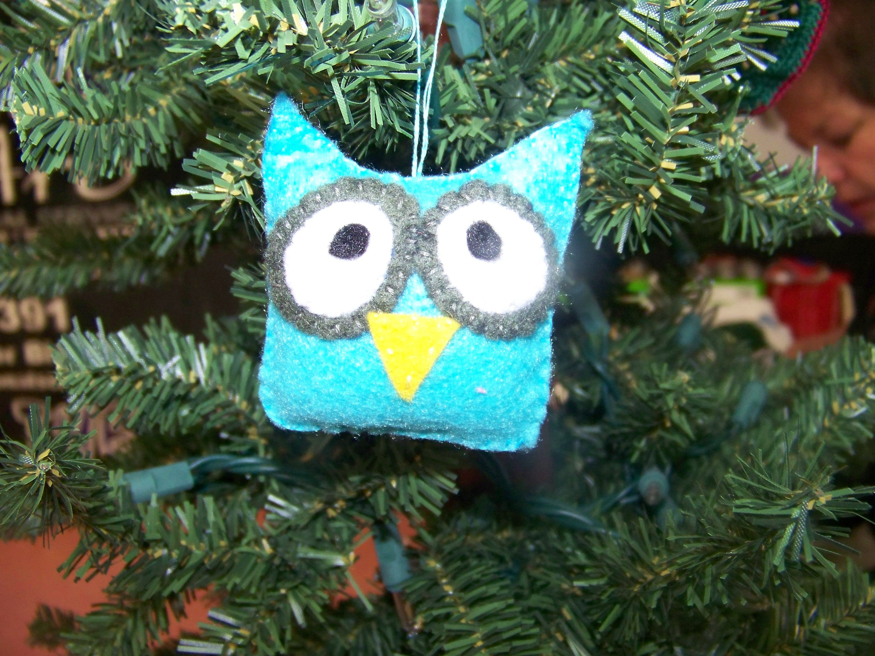 Teal Baby Owl Ornament ~ made by me
